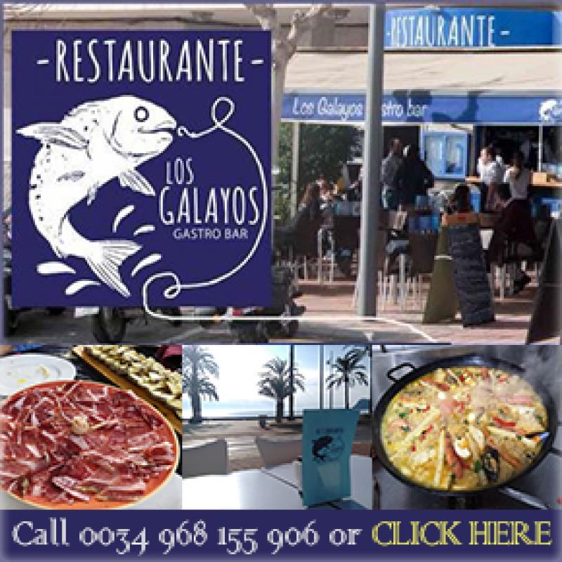 10-euro lunchtime Menú del Día at Restaurante Los Galayos on the seafront in Puerto de Mazarrón
