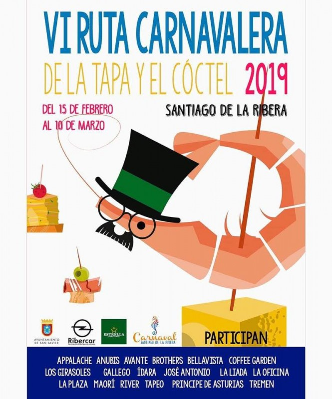 <span style='color:#780948'>ARCHIVED</span> -  15th February to 10th March 2019 Carnival Tapas route in Santiago de la Ribera
