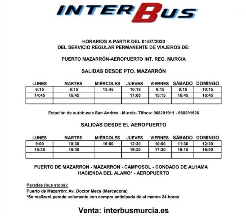 Bus routes and taxi information from Corvera airport 2020